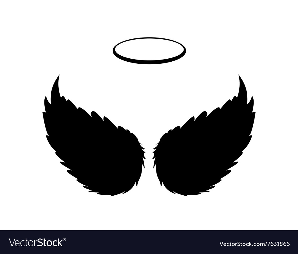 Black Angel Wings And Halo Vector Royalty Free Image