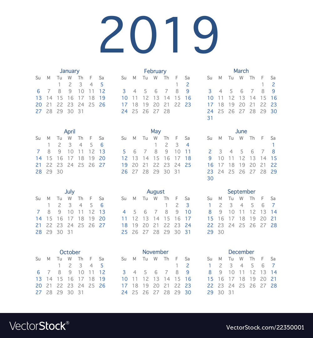 Calendar 2019 Year 2019 calendar year simple calendar layout for Vector Image