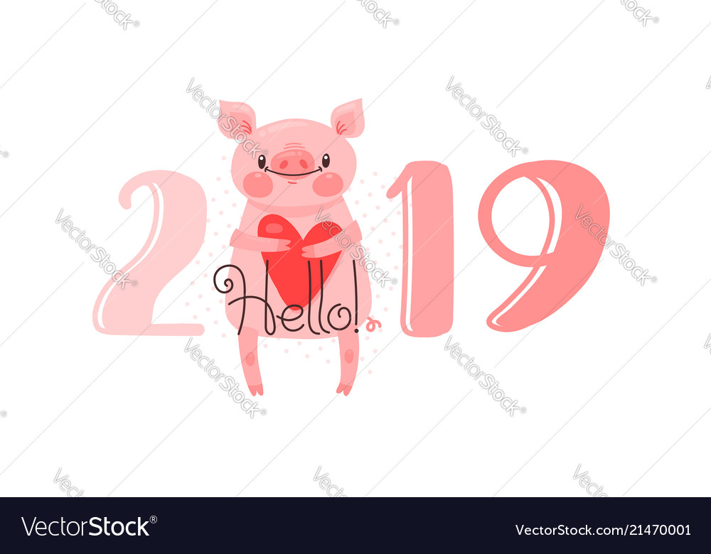 2019 Happy New Year Card Design Royalty Free Vector Image