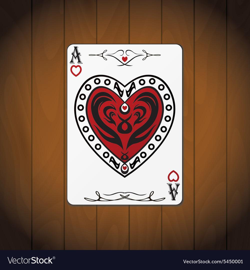 Ace hearts poker card varnished wood background