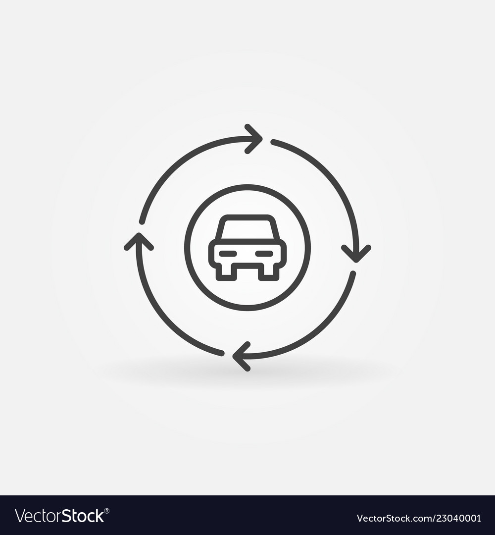 Car in circle with arrows outline icon