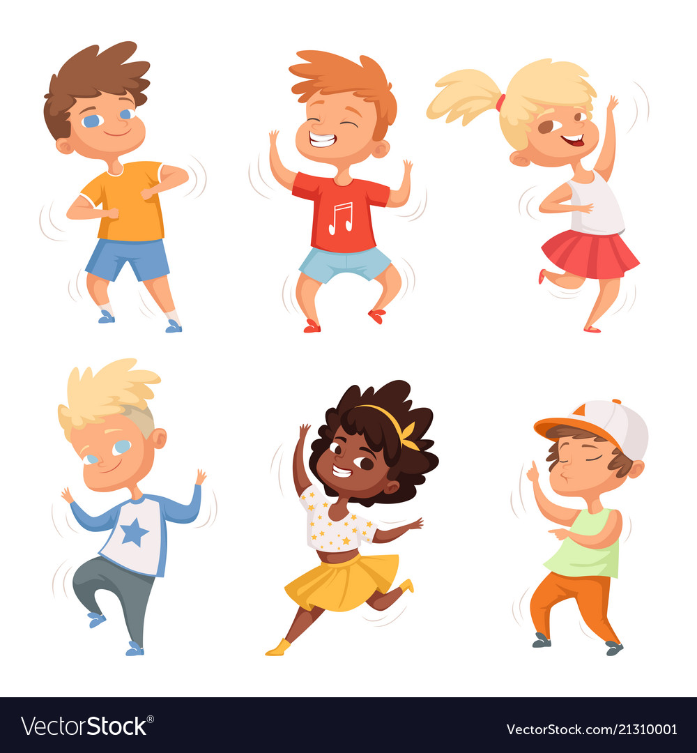 Dancing Childrens Male And Female Set Royalty Free Vector