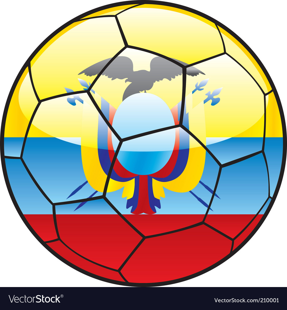Ecuador flag on soccer ball vector image