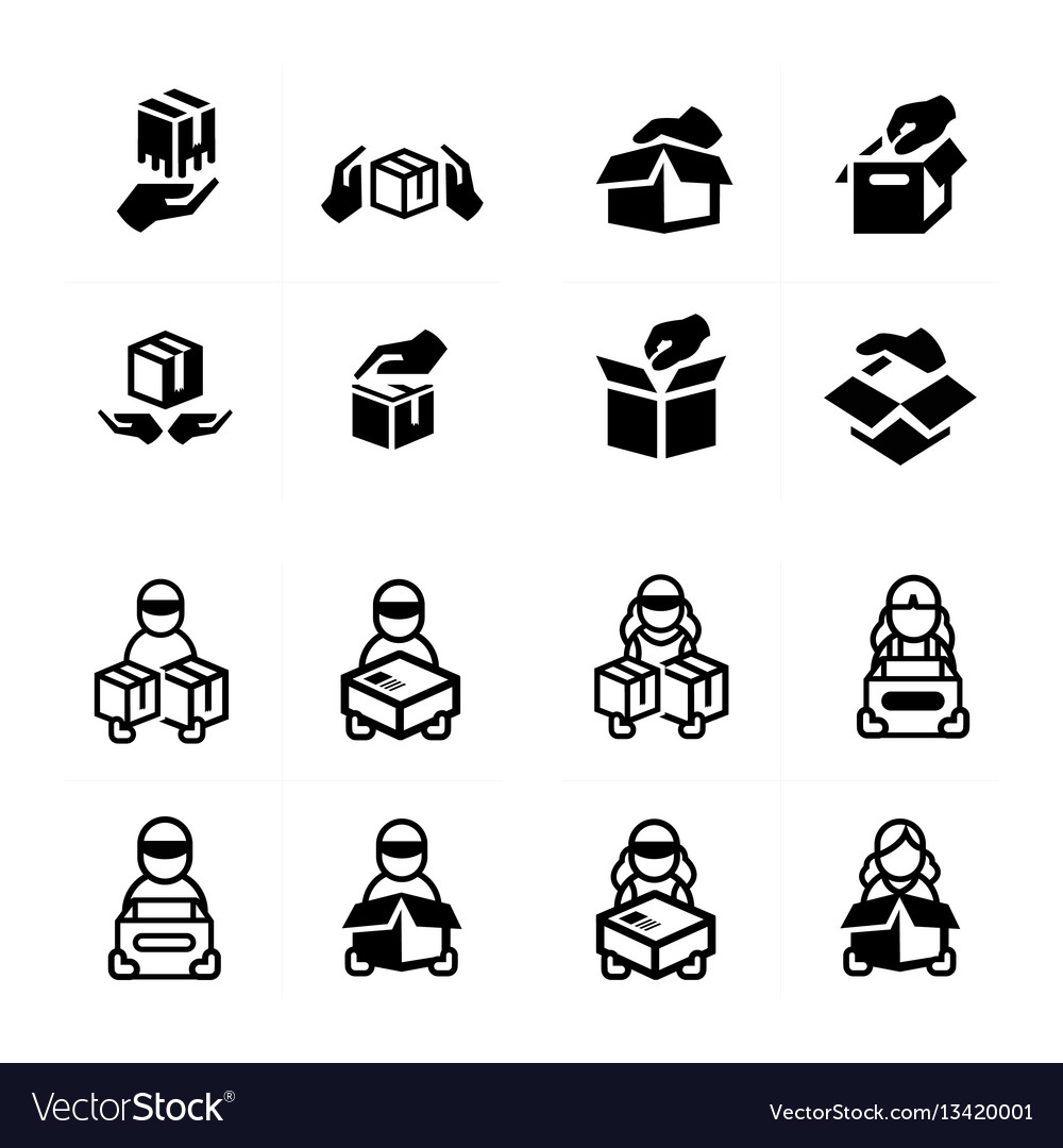 Hand and courier icon set