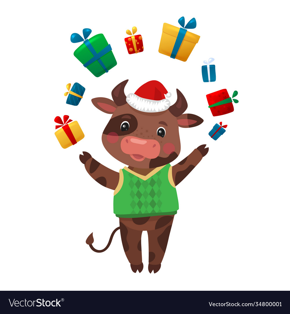 Happy new year cartoon cows character cow holding