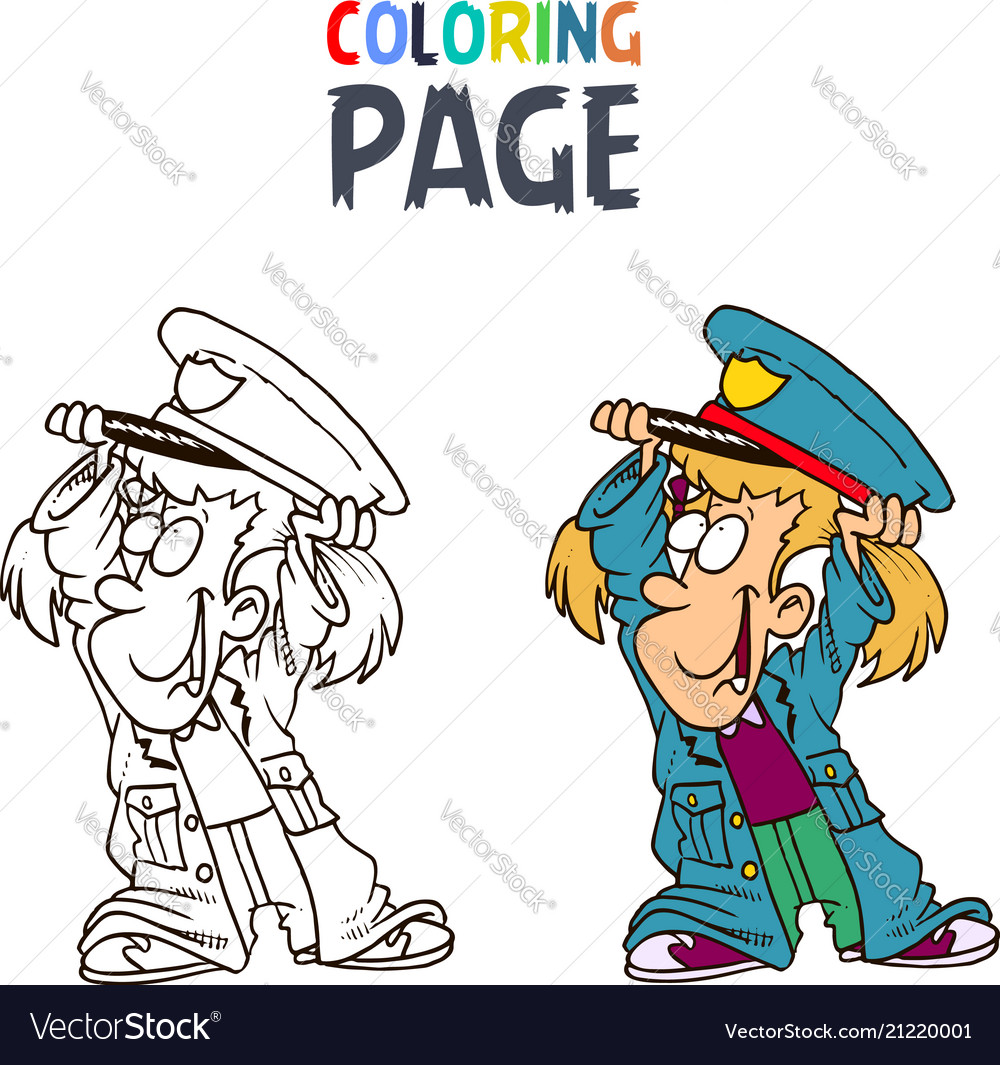 Little girl wearing police clothes cartoon