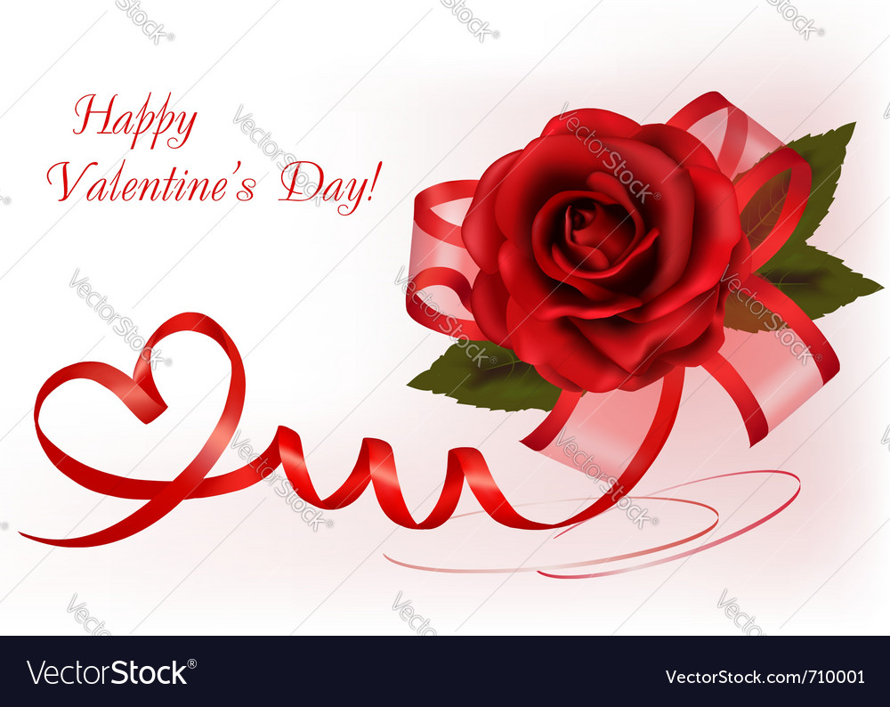 red rose with gift red ribbons royalty free vector image