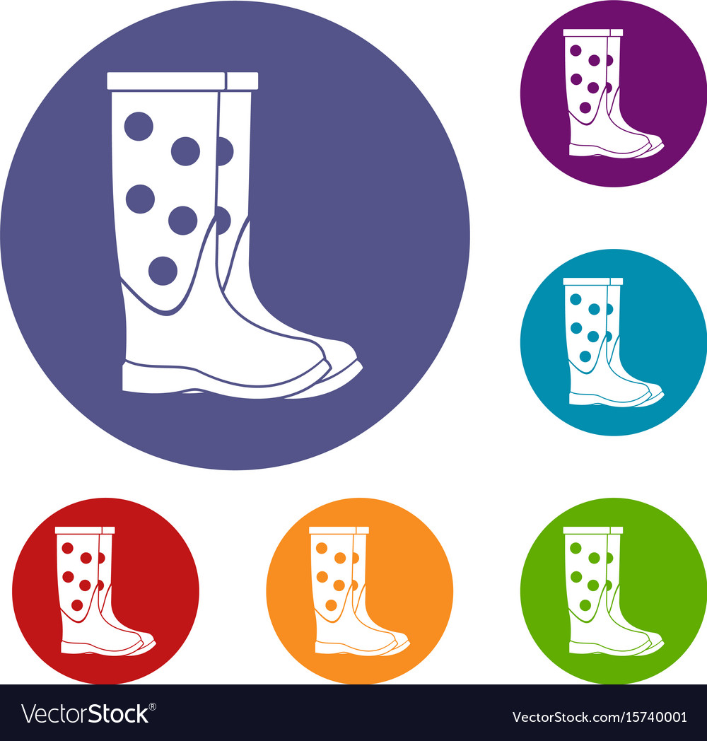 Rubber boots icons set