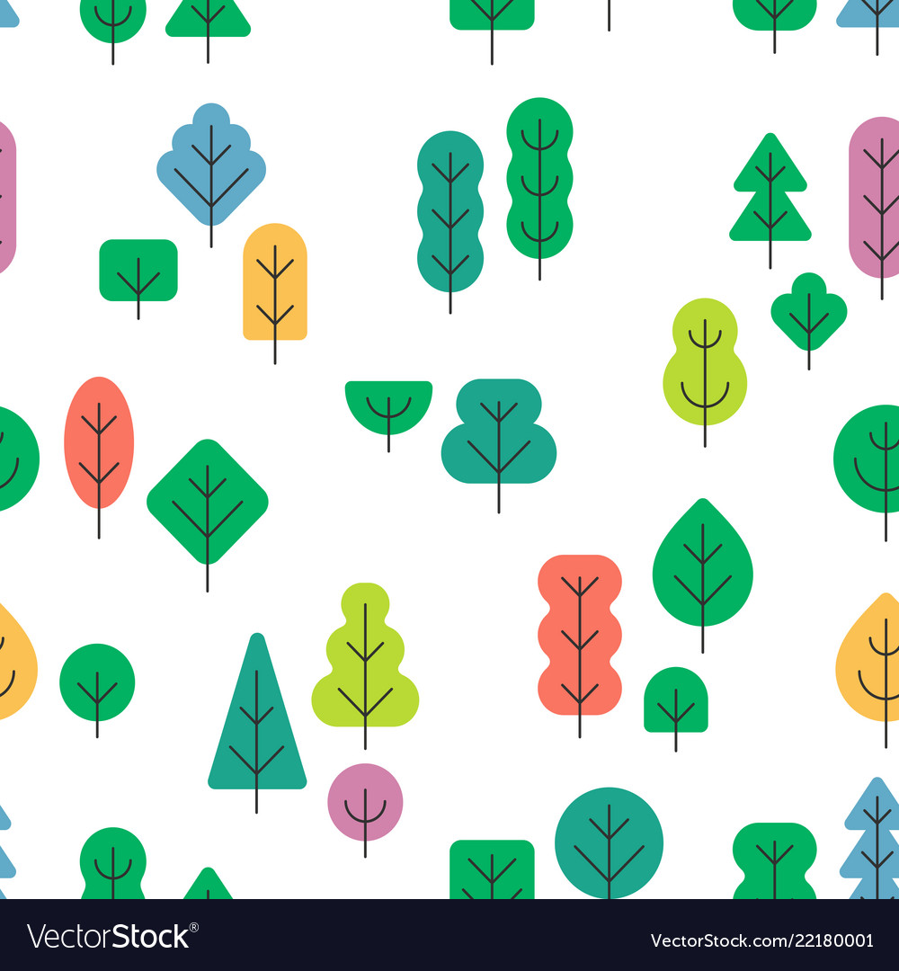 Seamless forest pattern with different shapes and