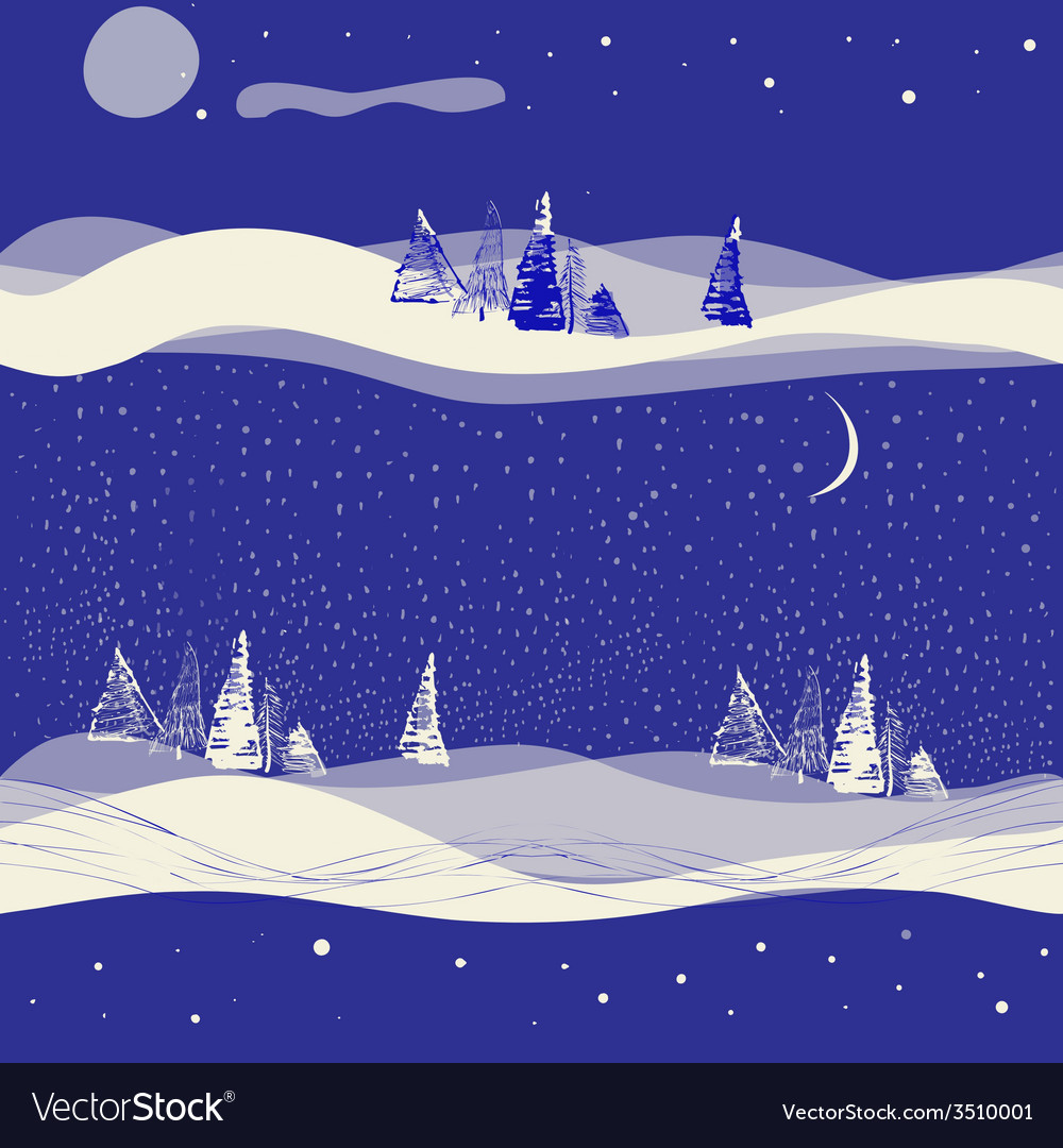 Seamless winter background with moon