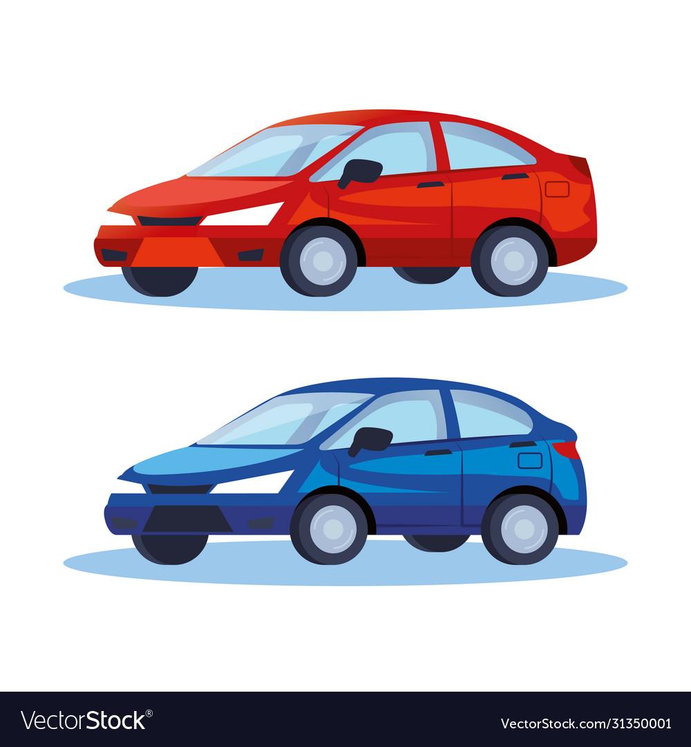 Sedan cars vehicles transport icons