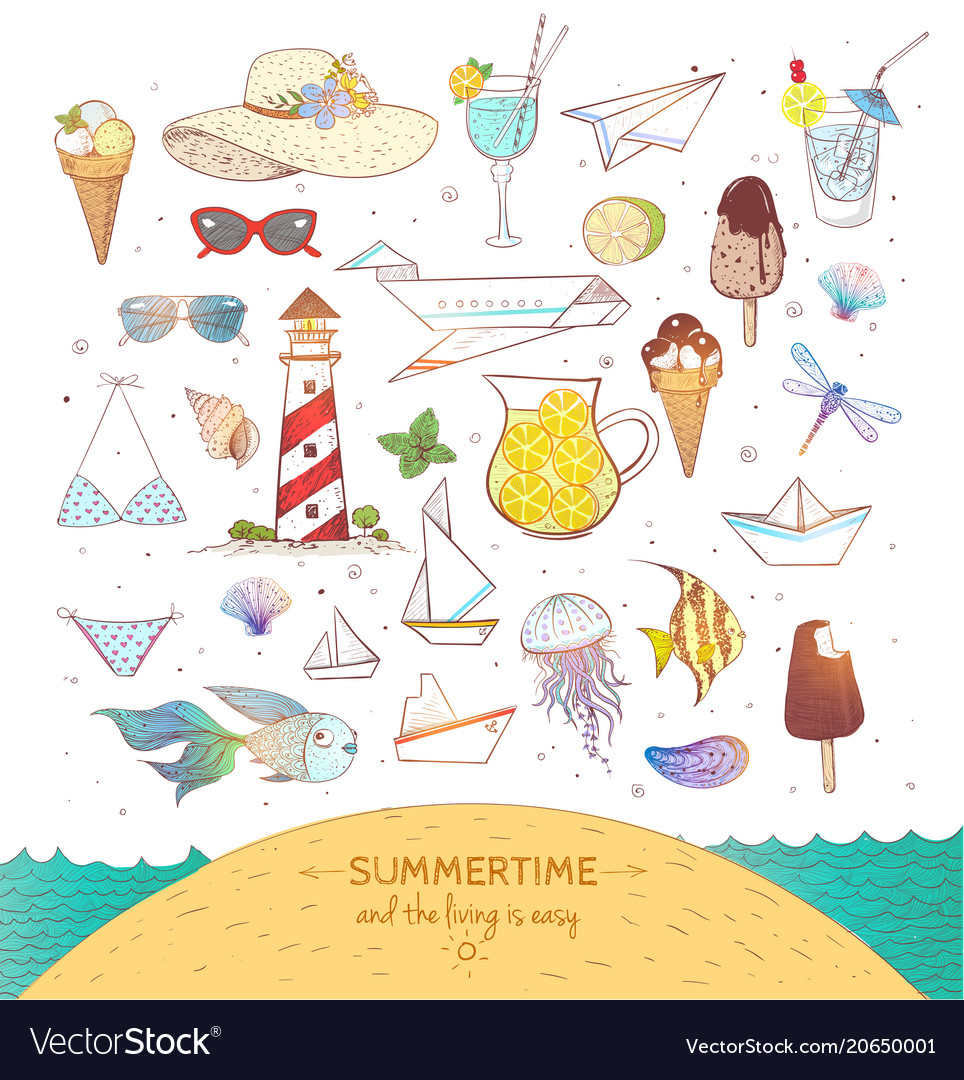 Set of colored summer doodle elements on white