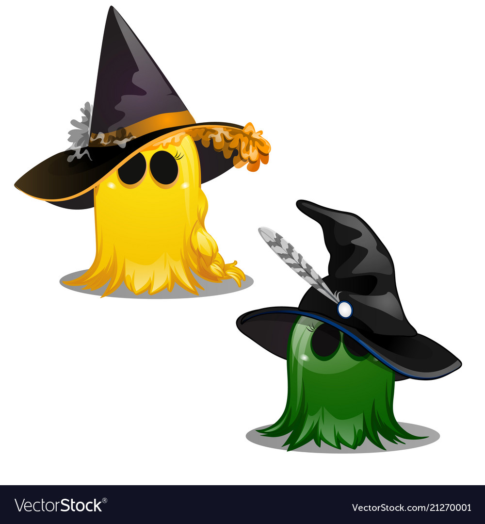 Two colorful cute yellow and green ghost in hats