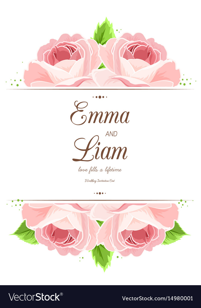 Wedding invitation card pink red rose flowers vector image