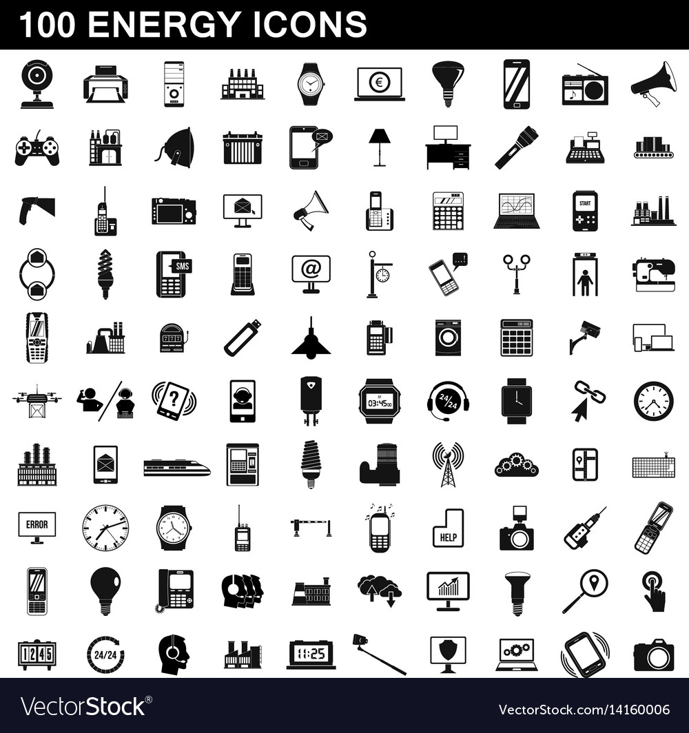 100 energy icons set simple style