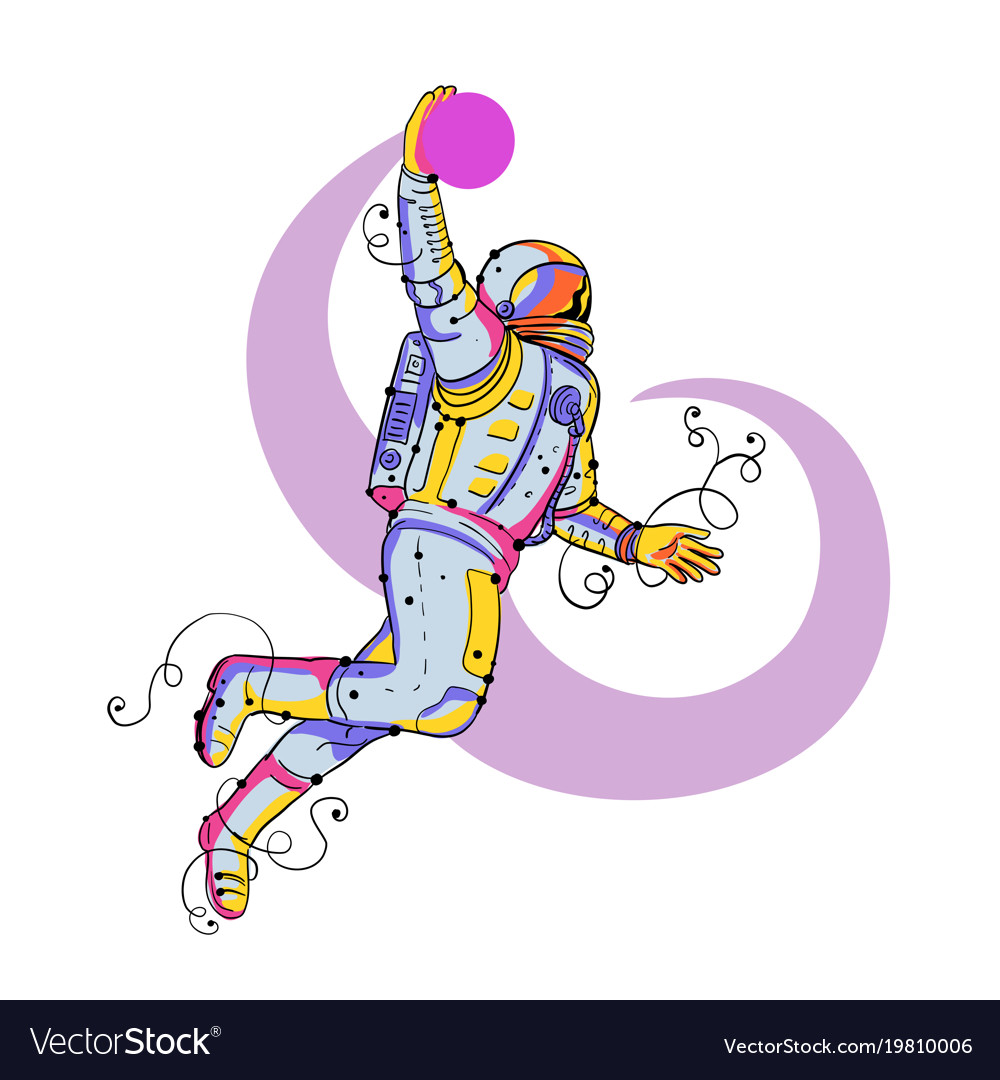 Astronaut dunking ball doodle vector image