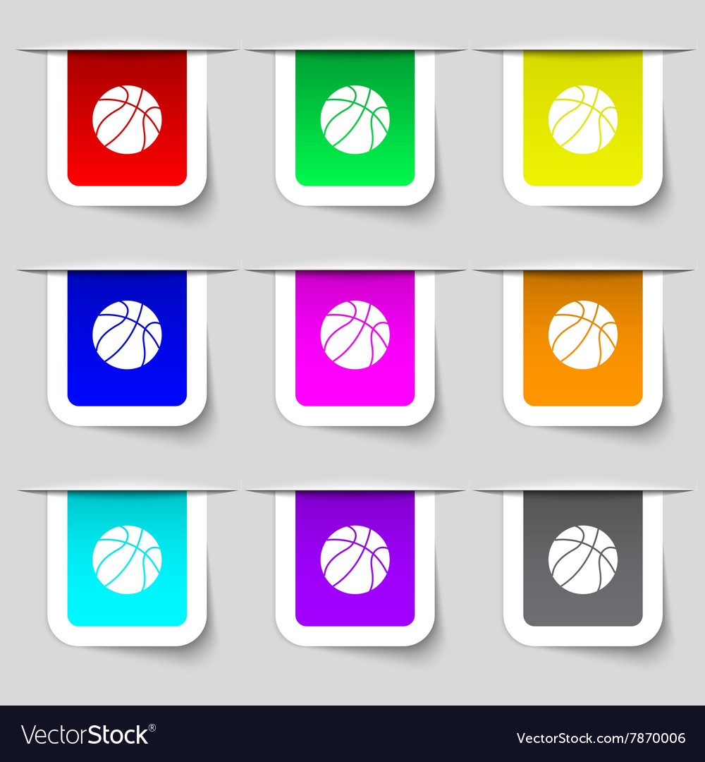 Basketball icon sign Set of multicolored modern vector image