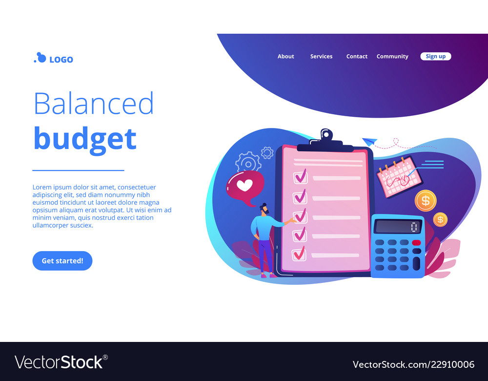 Budget planning concept landing page