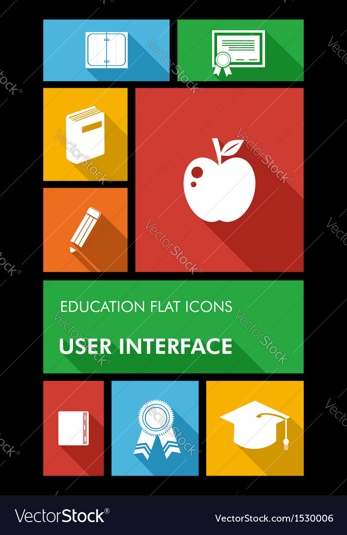 Colorful back to school user interface mobile app