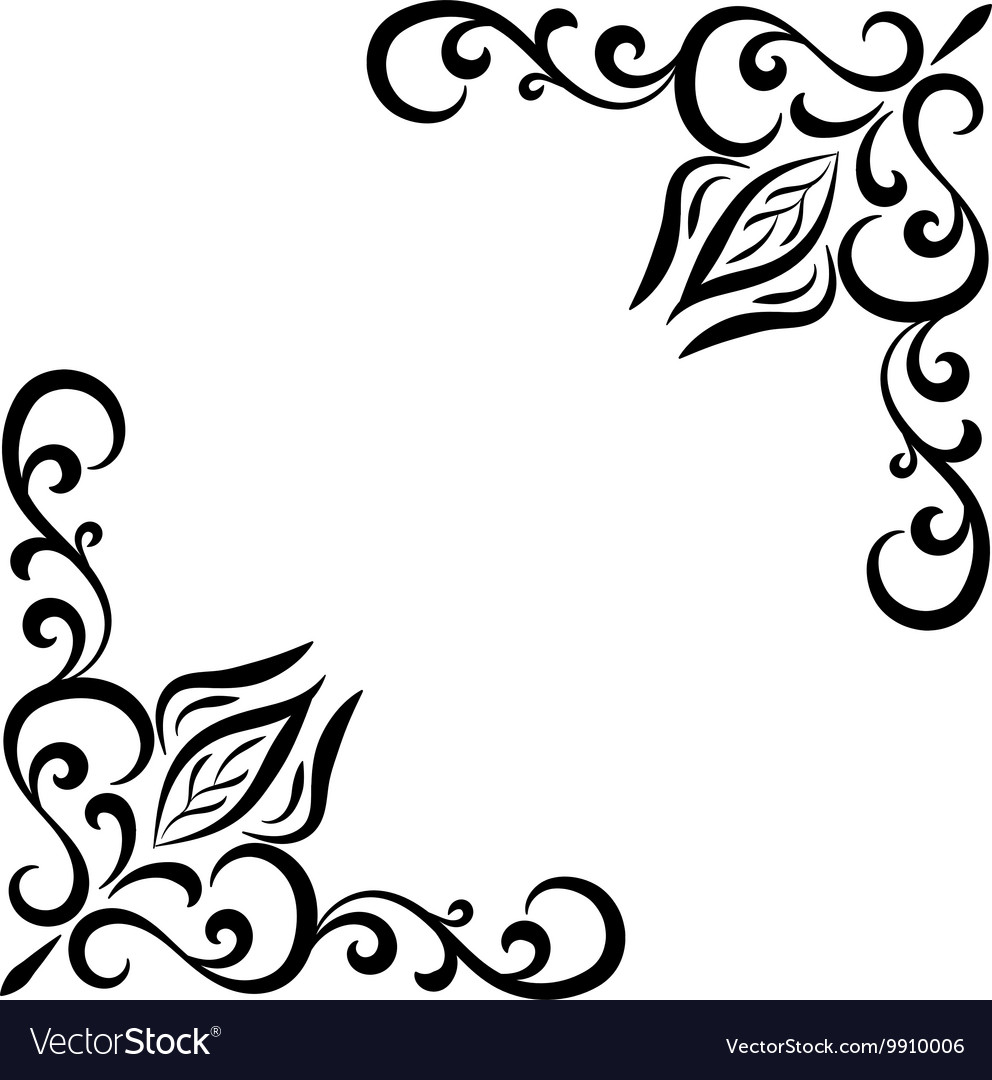 doodle abstract handdrawn flower corner frame vector image vectorstock