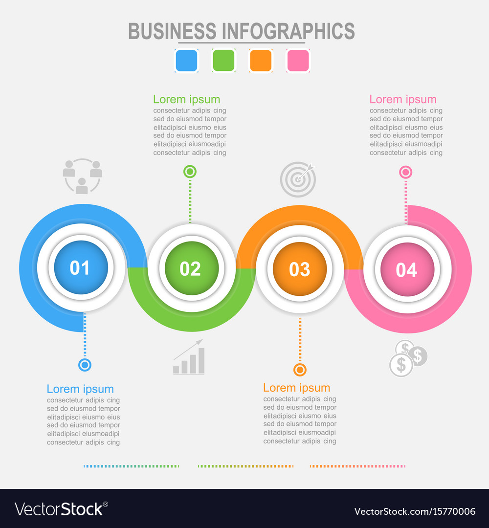 Four options infographic connection business