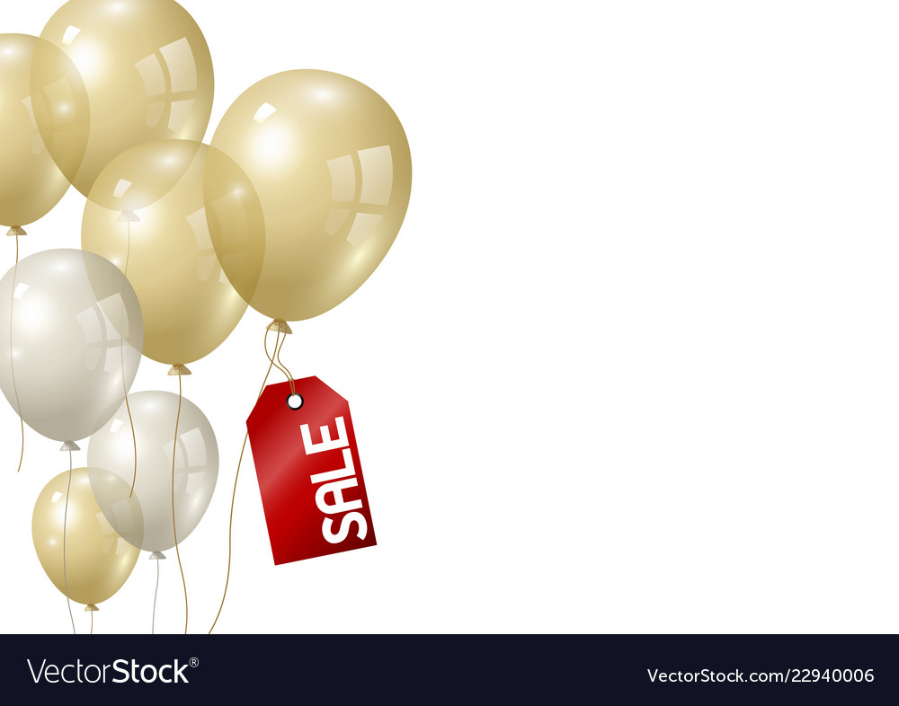 Gold and silver balloons on white background