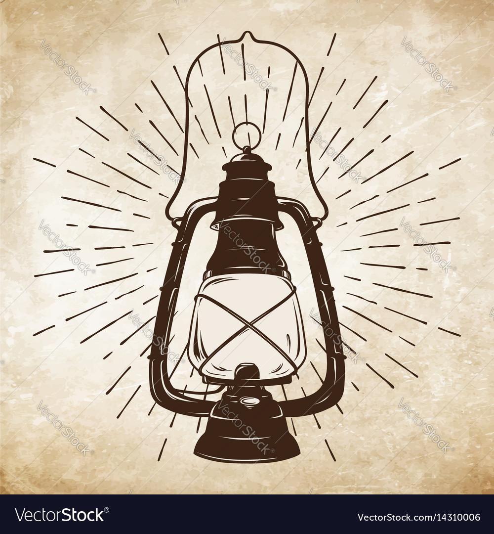 Oil lantern or kerosene lamp with rays of light