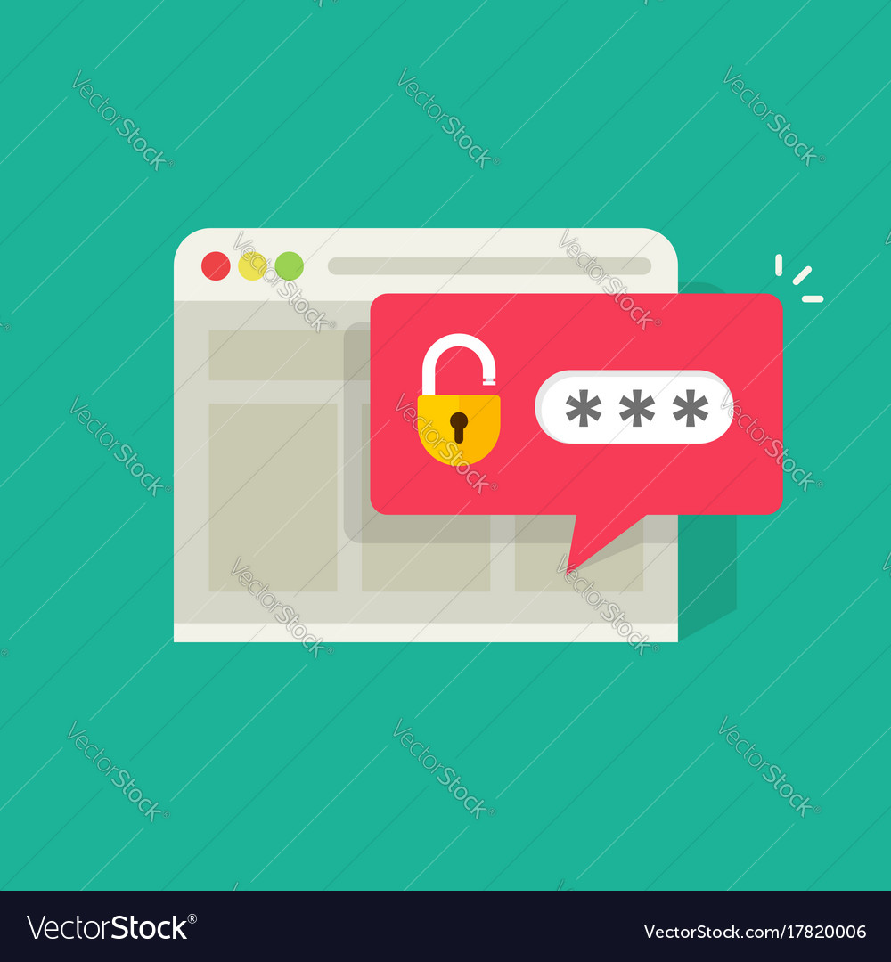 Password notification bubble with open lock in