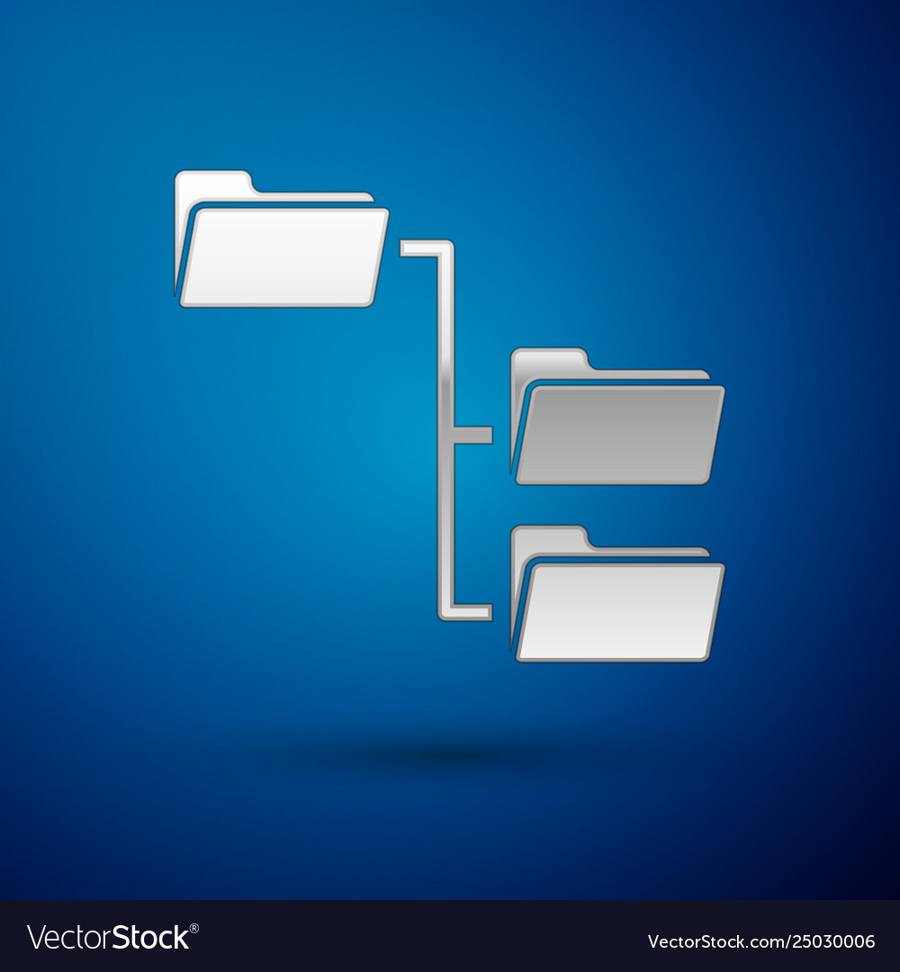 Silver folder tree icon isolated on blue