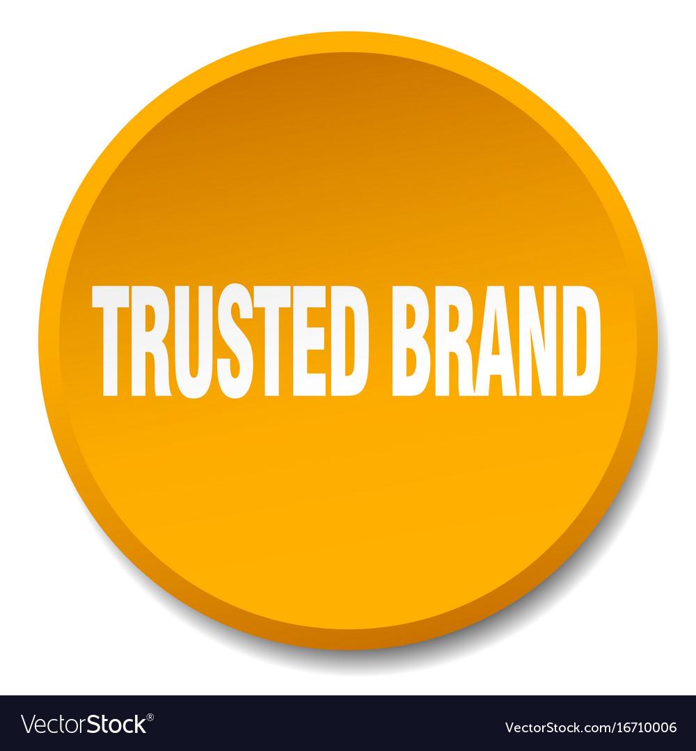 Trusted brand orange round flat isolated push vector image