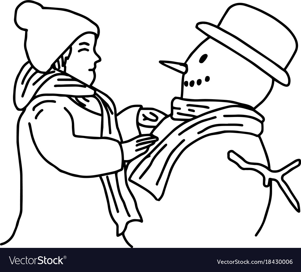 Young girl building a snowman vector image