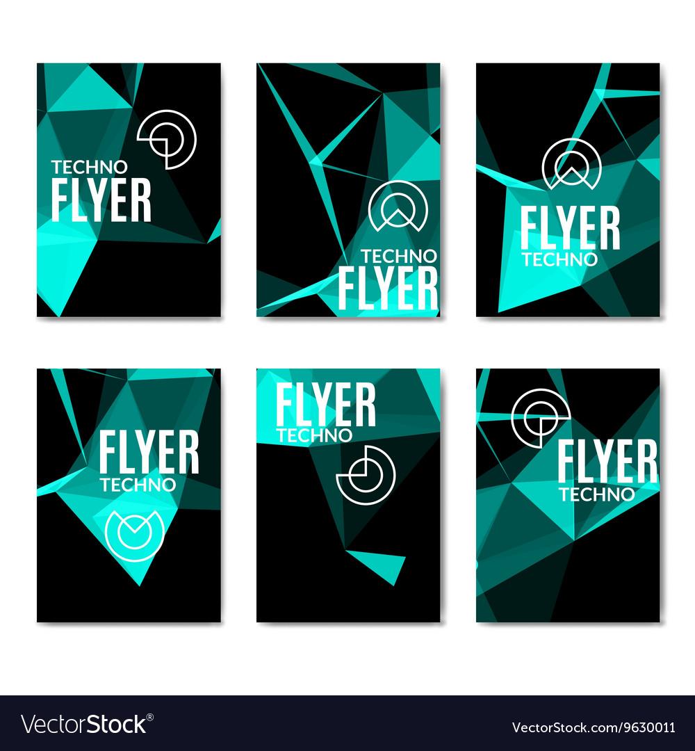 Abstract technology polygonal flyer set Modern vector image