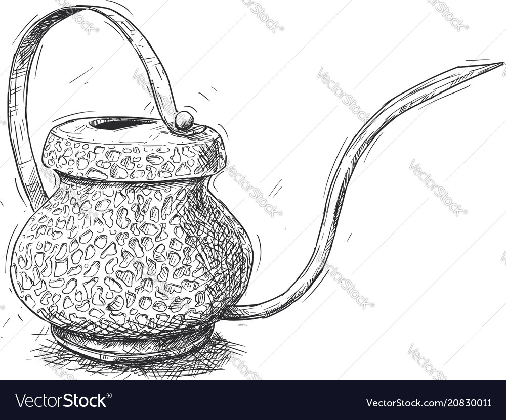 Artistic or drawing of antique brass watering jug