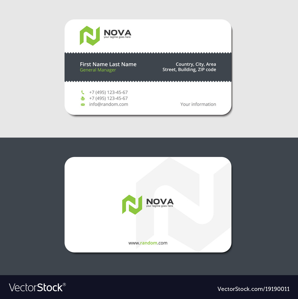 Business card of torn paper with green letter n Vector Image