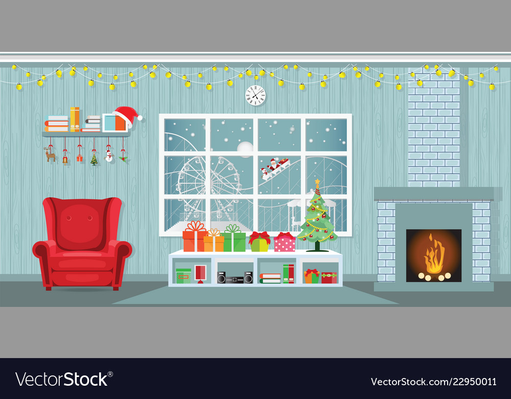 Christmas party in living room with armchair