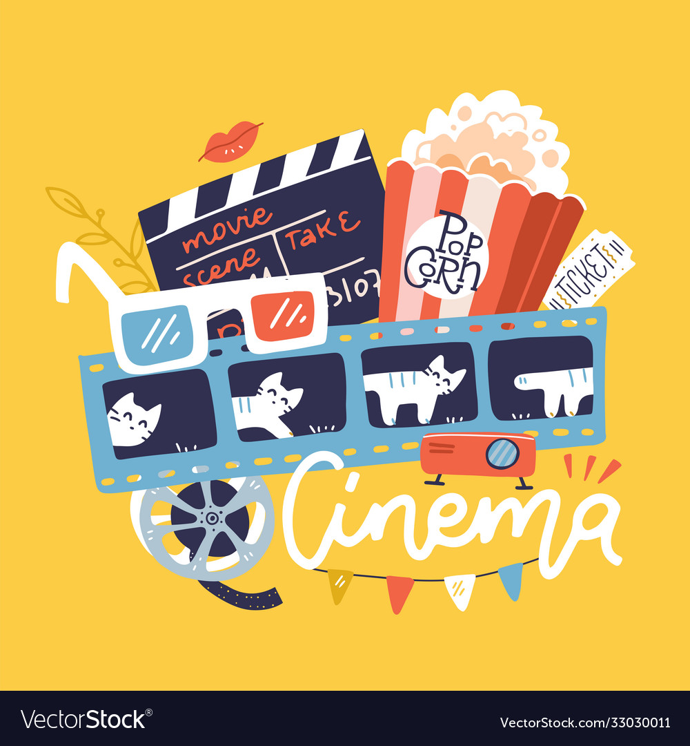 Cinema sign with icons set flat doodle bright