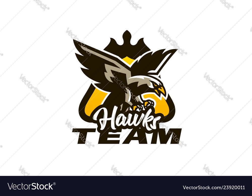 Colorful emblem badge logo of flying eagle bird
