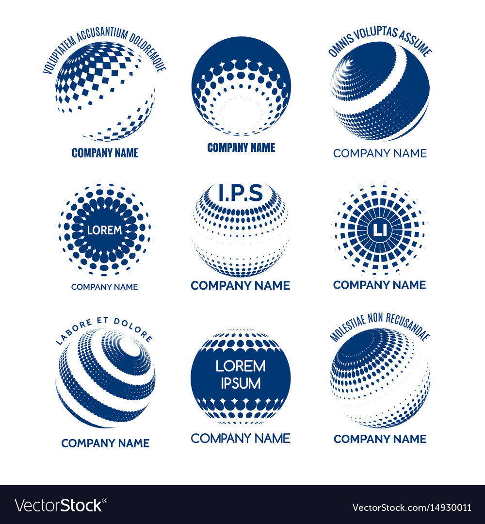 Halftone circles spheres for tech brands vector image