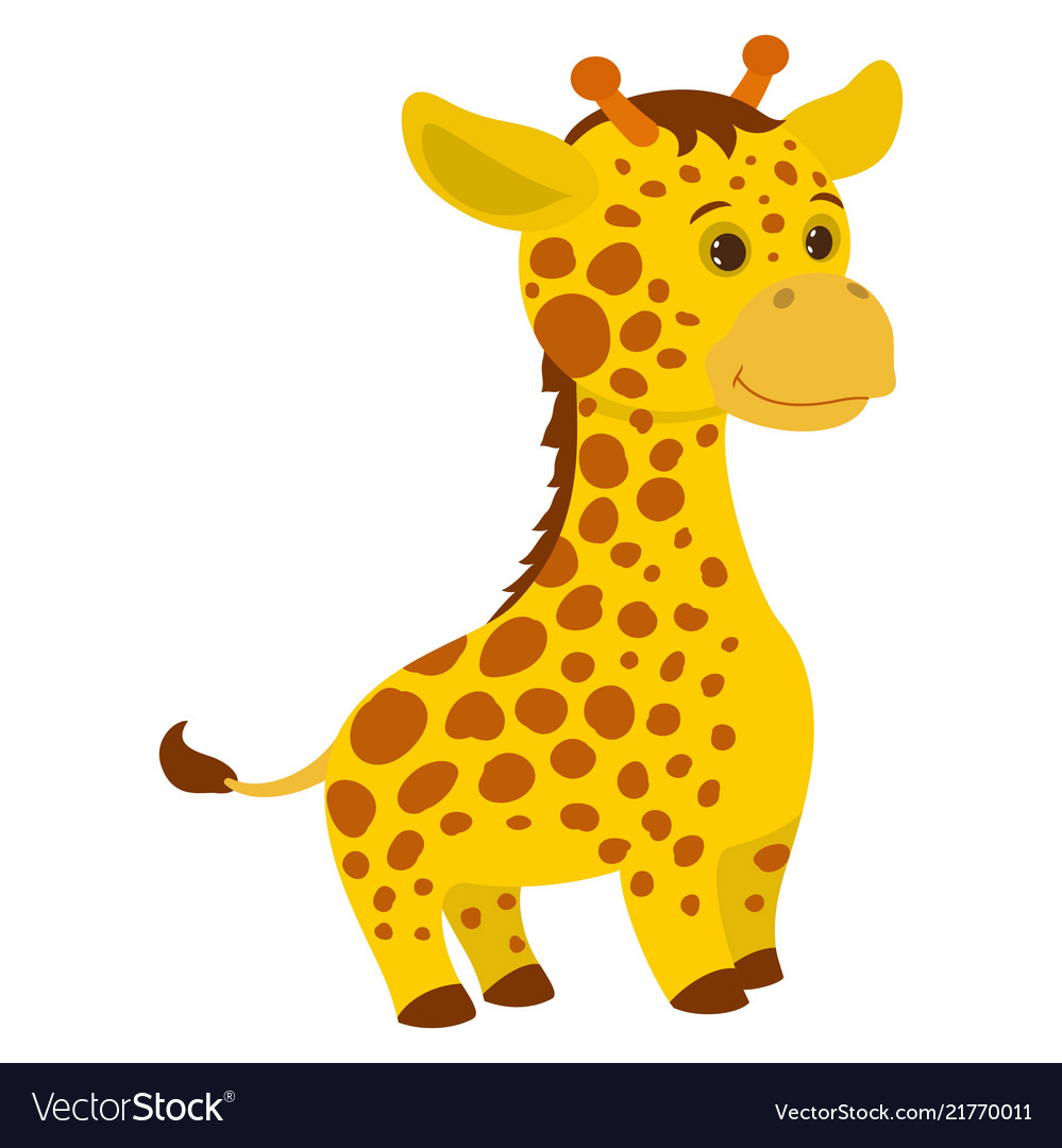Hand drawn giraffe natural colors