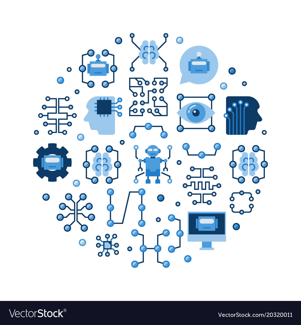 Machine learning and ai colorful flat vector image