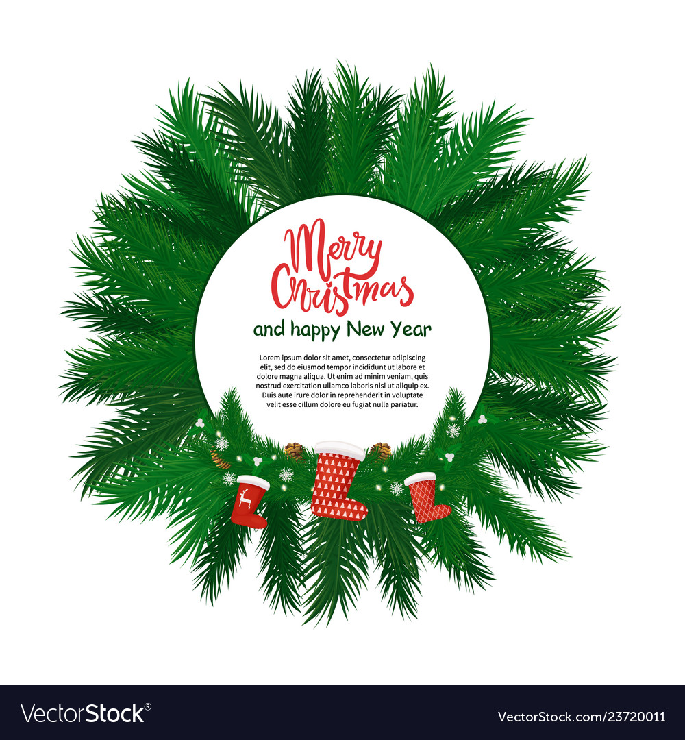 Merry christmas and happy new year round label vector