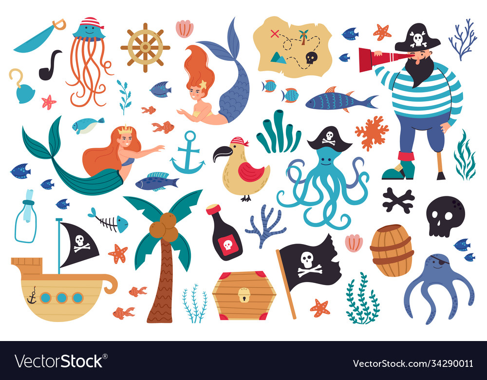 Pirates and mermaids sea underwater creatures and