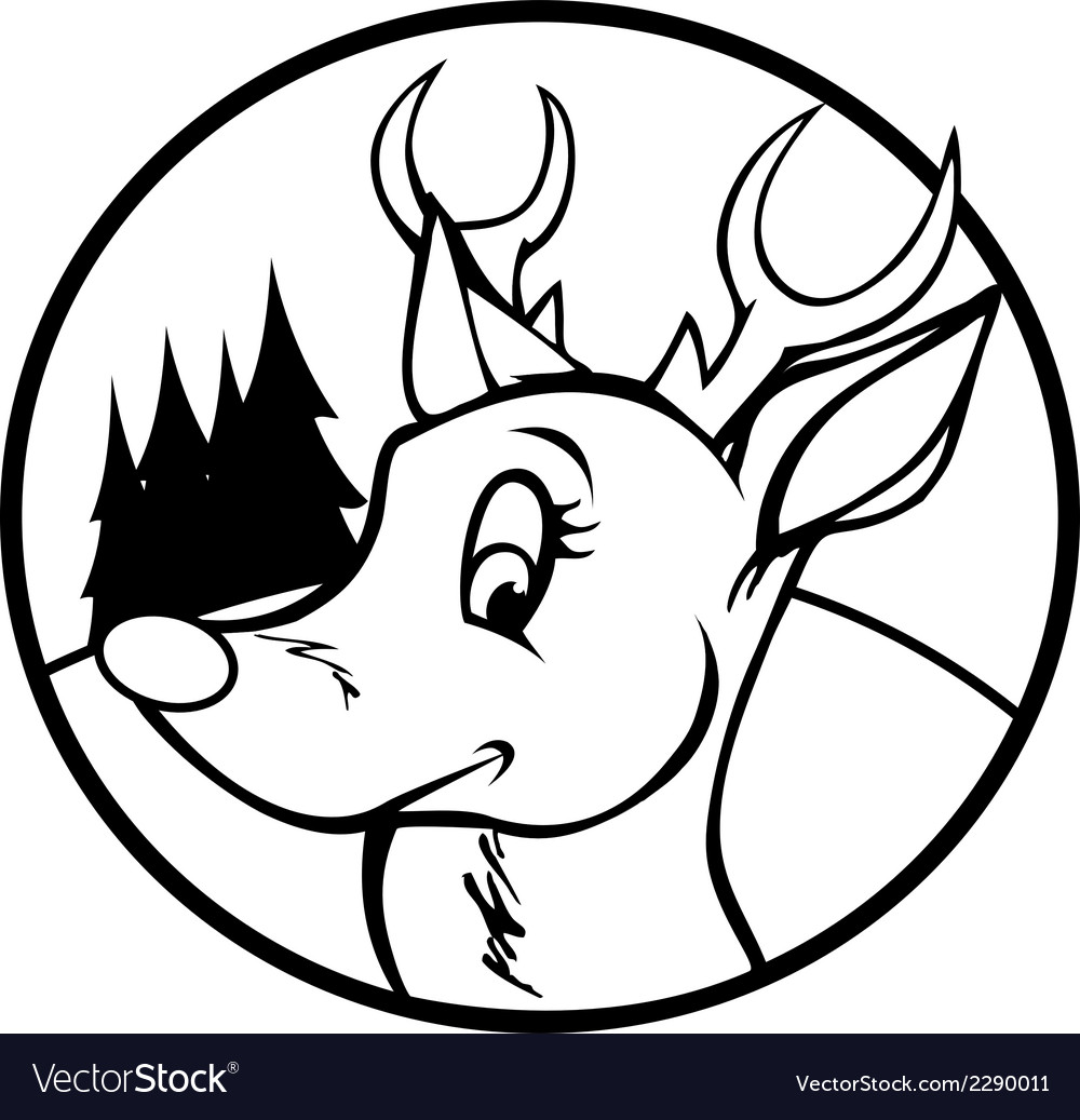 rudolph red nose reindeer outline royalty free vector image