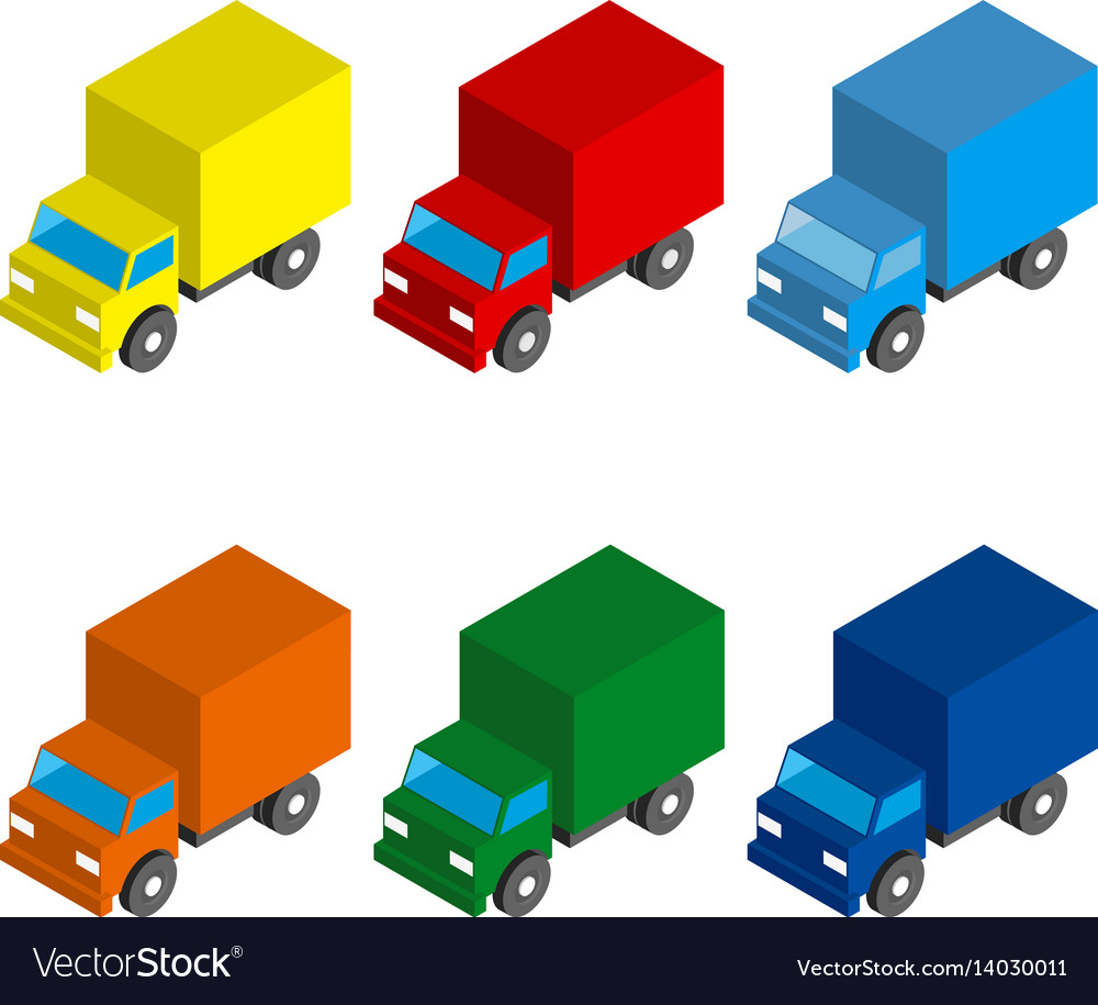 Set of colored isometric 3d cargo trucks