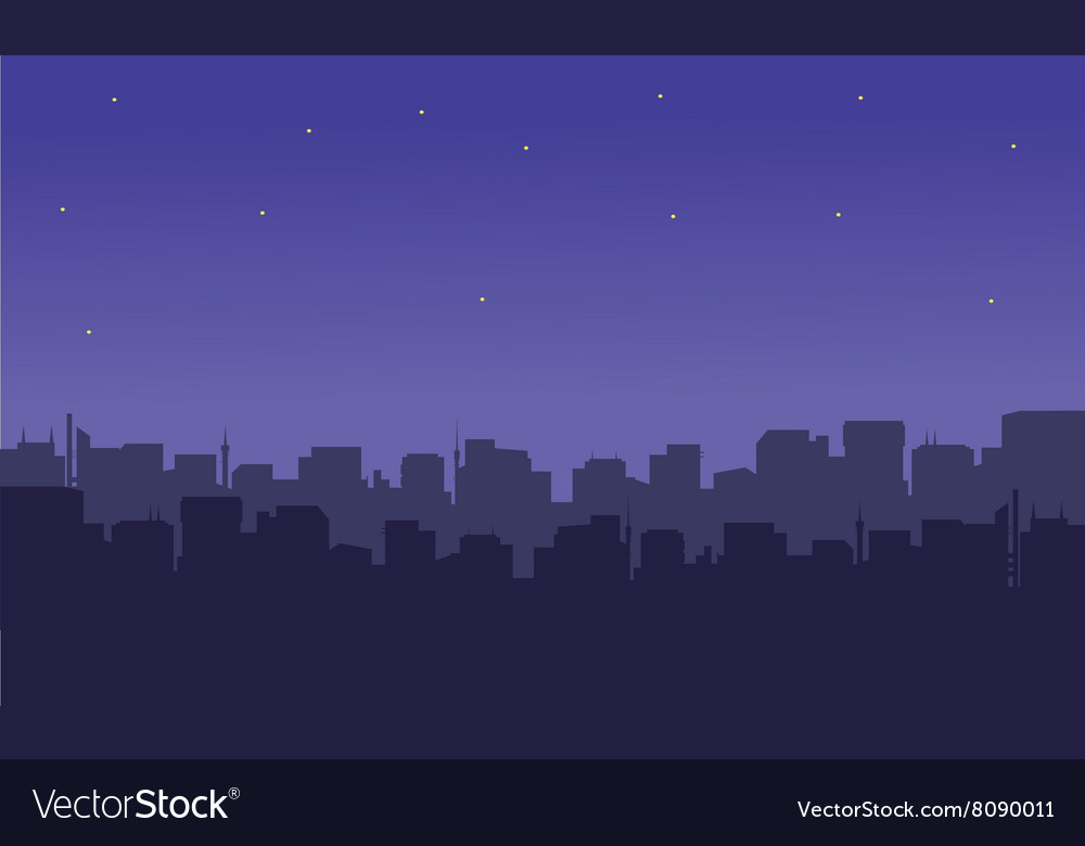Silhouette of the city with a star