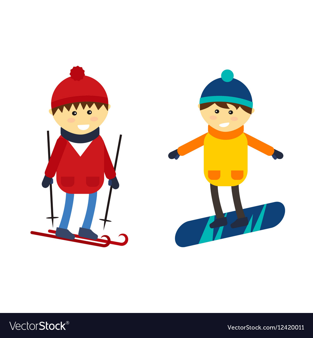 Skiing And Snowboarding Boy Royalty Free Vector Image
