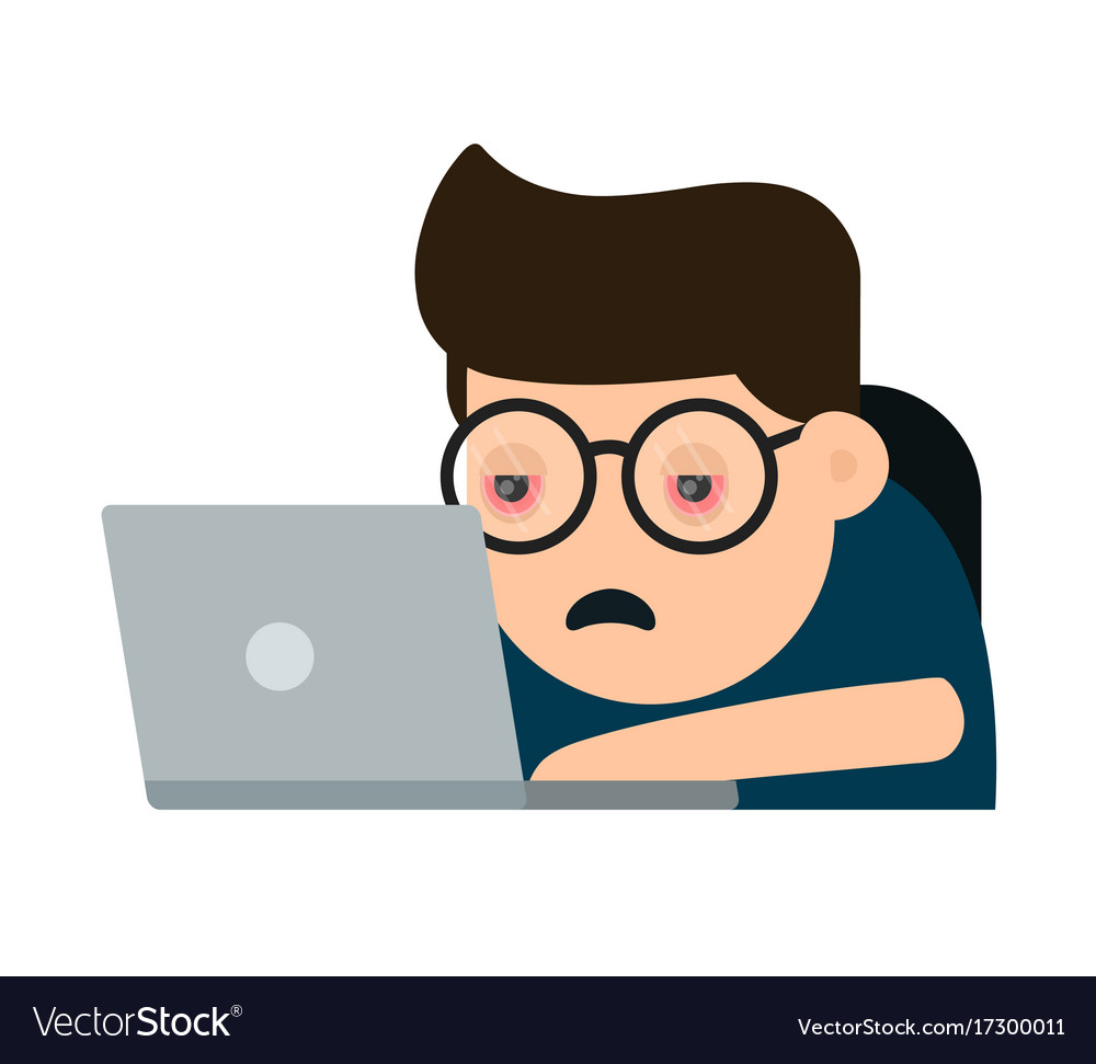 Tired suffering young man with red eyes vector image