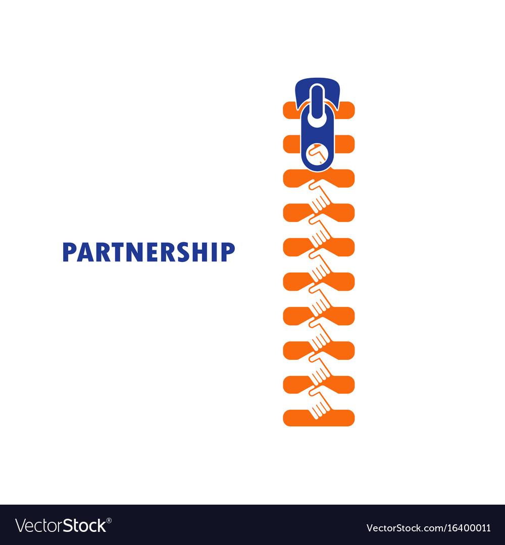Zipper symbol and handshake businessman agreement