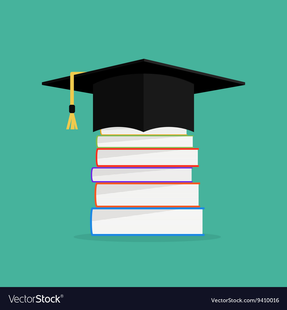 Academic books with hat on they Graduation cap
