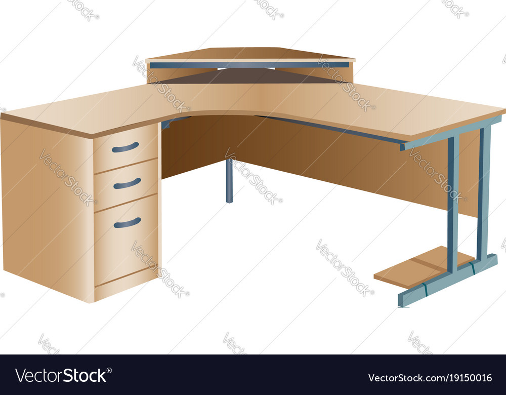 Angled Corner Office Desk Royalty Free Vector Image